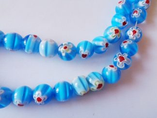 38cm Strand 10mm Millefiori Flower Rounds (approx 41 pieces) Azure
