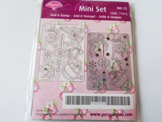 Pergamano Mini Grid and Stamp Set 12 Baubles (approx 7.4cms x 9.9cms)