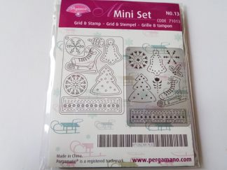 Pergamano Mini Grid and Stamp Set 13 Winter Festival (approx 7.4cms x 9.9cms)