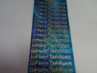 Merry Christmas 2 Holographic Blue Peel Off Stickers