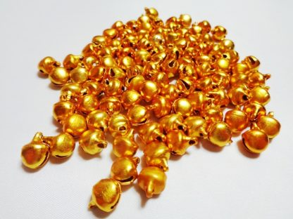 100 x 8mm Metal Bells Gold