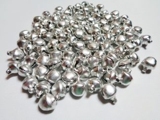 100 x 8mm Metal Bells Silver