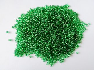 2mm Size 11/0 Silver Lined Seed Beads Green (approx 20g)