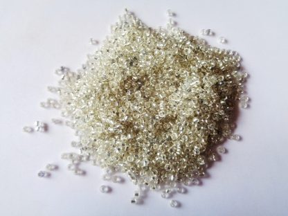 2mm Size 11/0 Silver Lined Seed Beads Clear (approx 20g)