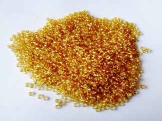 2mm Size 11/0 Silver Lined Seed Beads Golden Rod (approx 20g)