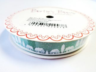 Village Scene Green 16mm Grosgrain Ribbon 3m Roll