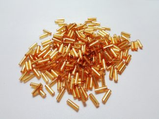 Pack of Silver Lined Gold Bugle Beads 6mm (approx 9g)