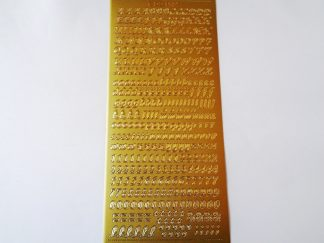 Alphabet and Number Mixed Peel Off Stickers Gold