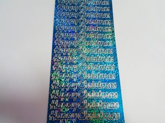 Happy Christmas 2 Peel Off Stickers Holographic Blue