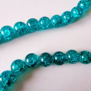 10mm Glass Crackle Beads (approx 40 beads) Green Turquoise