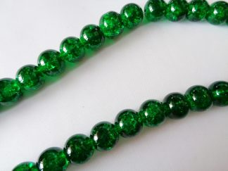 10mm Glass Crackle Beads (approx 40 beads) Emerald