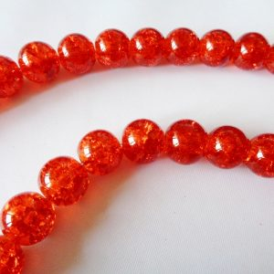 10mm Crackle Glass Beads (approx 40 beads) Orange