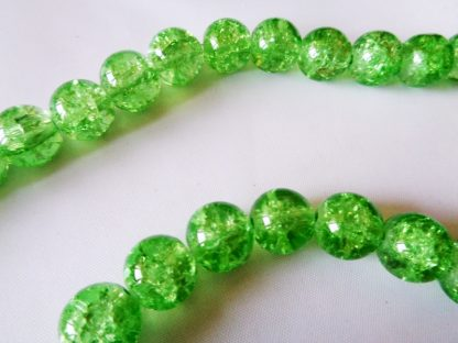 10mm Crackle Glass Beads (approx 40 beads) Peridot