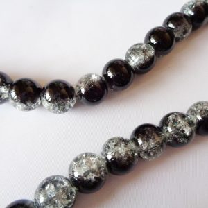 10mm Crackle Glass Beads (approx 40 beads) Crystal/Jet