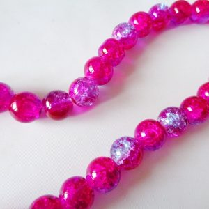 10mm Crackle Glass Beads (approx 40 beads) Fuchsia/Lilac