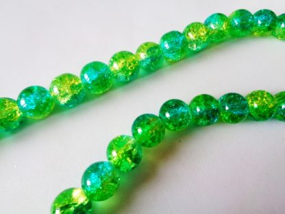 10mm Crackle Glass Beads (approx 40 beads) Peridot/Green Turqoise