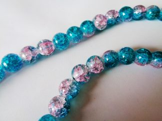 10mm Crackle Glass Beads (approx 40 beads) Pink/Green Turquoise