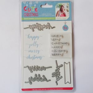 Cute Christmas Metal Die and Stamp Set Festive Phrases