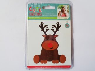Cute Christmas Metal Die Red Nosed Reindeer
