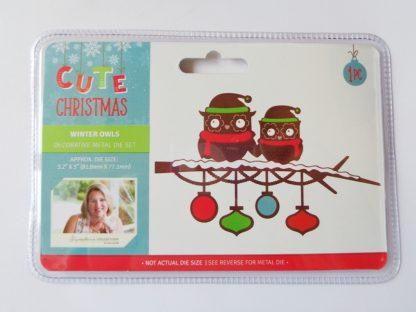 Cute Christmas Metal Die Winter Owls