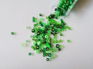 25g Hanging Tube With Mix of 7/0 & 10/0 Seed Beads & Bugle Beads Green