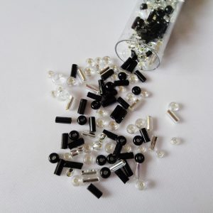 25g Hanging Tube With Mix of 7/0 & 10/0 Seed Beads & Bugle Beads Black/Silver