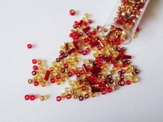 25g Hanging Tube With Mix of 7/0 & 10/0 Seed Beads & Bugle Beads Red/Gold