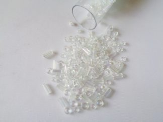 25g Hanging Tube With Mix of 7/0 & 10/0 Seed Beads & Bugle Beads Crystal/Iris