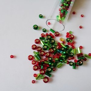 25g Hanging Tube With Mix of 7/0 & 10/0 Seed Beads & Bugle Beads Red/Green
