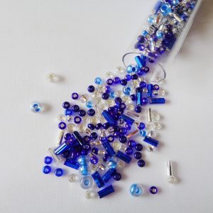 25g Hanging Tube With Mix of 7/0 & 10/0 Seed Beads & Bugle Beads Royal/Silver