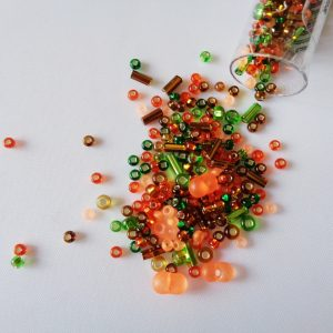 25g Hanging Tube With Mix of 7/0 & 10/0 Seed Beads & Bugle Beads Autumn