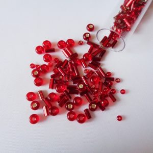 25g Hanging Tube With Mix of 7/0 & 10/0 Seed Beads & Bugle Beads Red