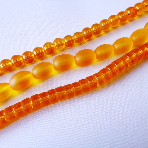 3 Strand Bundle Indian Transparent and Frosted Pressed Glass Beads Topaz