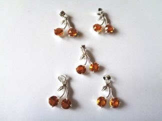 Pack of 5 x Rhinestone Pendants Cherries Amber