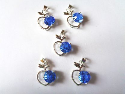 Pack of 5 x Rhinestone Pendants Apple Mid Blue