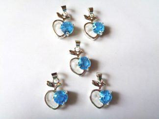 Pack of 5 x Rhinestone Pendants Apple Aqua
