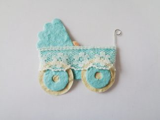 Pack of 5 Blue Pram Die Cut Toppers