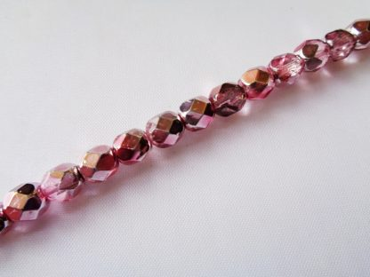 Strand of 25 6mm Half Coated Rose-Crystal Czech Fire-polished Faceted Glass Beads