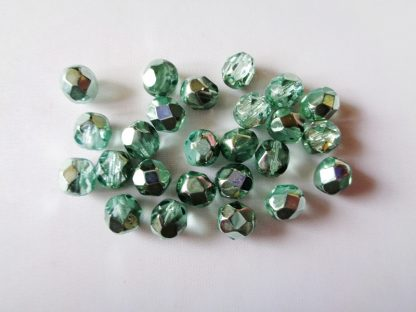 25 Loose 6mm Half Coated Green-Crystal Czech Fire-polished Faceted Glass Beads