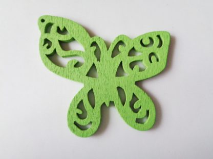 Pack of 5 Green Butterfly Wooden Pendants approx 47mm