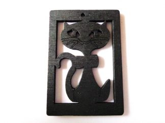 Pack of 5 Black Cat Wooden Pendants approx 47mm