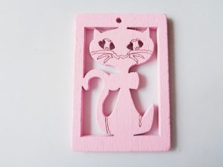 Pack of 5 Pink Cat Wooden Pendants approx 47mm