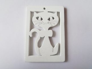 Pack of 5 White Cat Wooden Pendants approx 47mm