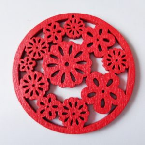 Pack of 5 Red Flowers Wooden Pendants approx 47mm