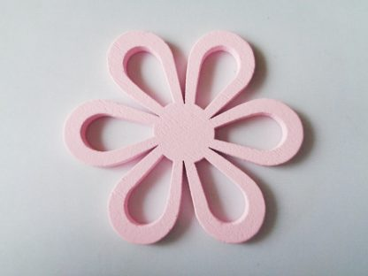 Pack of 5 Pink Flower Wooden Pendants approx 47mm