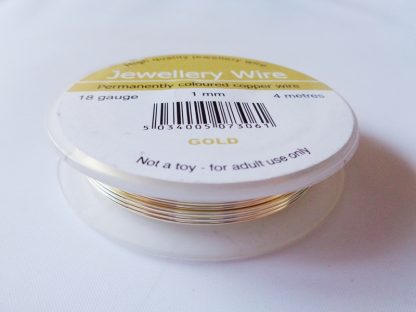 1.0mm (18 gauge) Gold Plated Jewellery Wire 4m Reel (enamal coated copper wire, tarnish, chip and peeling resistant)