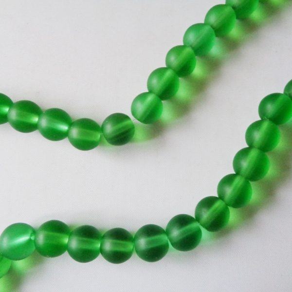 10mm Green Glass Frosted Round Beads