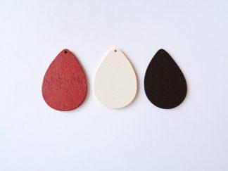 Pack of 3 wooden teardrop shaped pendants