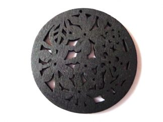 Pack of 5 Black Flowers Wooden Pendants approx 47mm