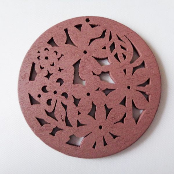 Pack of 5 Brown Flowers Wooden Pendants approx 47mm
